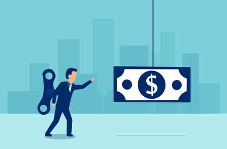 Vector of a business man with a wind up key on his back walking towards a dollar banknote on blue background. Illustration