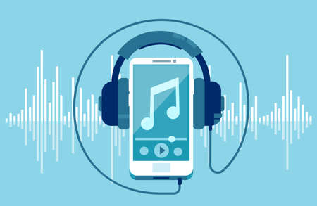 Vector of a smart phone and headphones on a equalizer blue background