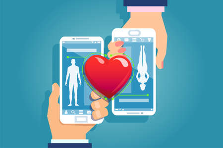 Online dating concept. Vector of a male and female hands holding smartphones matching their social media mobile app profiles with red heard connecting them