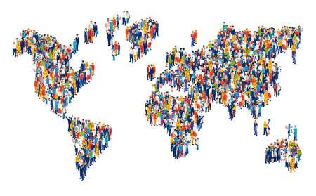 Vecteur de foule de personnes multiculturelles composant une carte du monde sur fond blanc Vecteurs