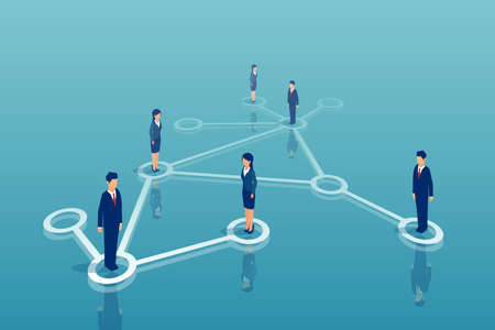 Vector of group of businesspeople networking. Business communication professional collaboration concept.