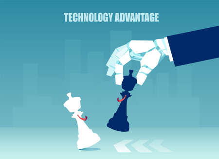 Technology advantage concept. Vector of a robot hand playing winning a chess game