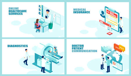 Health care and patient management concept.Isometric vector collage set for online medical services healthcare insurance imaging diagnostics and doctor communication. illustration for web development