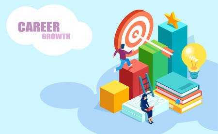 Education and career growth opportunities concept. Isometric vector of people achieving goals, receiving online university degrees
