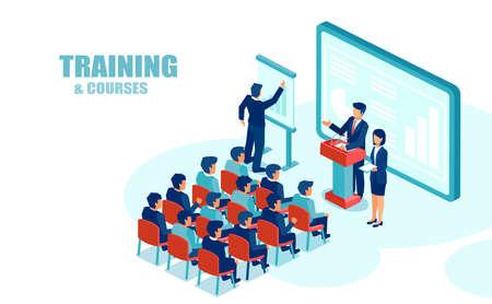 Vector isométrico de empleados de oficina del grupo de educación de personas de negocios, escuchando la presentación financiera Ilustración de vector