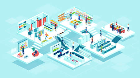 Isometric vector of people men and women shopping at the supermarket and buying products consumer goods Illustration