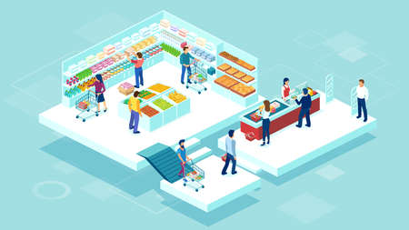 Isometric vector of people shopping together at the grocery supermarket and buying food products