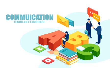 Nuevo concepto de comunicación y aprendizaje de idiomas. Vector de reunión de hombres de negocios y una empresaria estudiando en línea