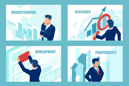 Presentation business slide templates for websites or mobile apps. Vector of a successful businessman brainstorming for new profitable opportunities.
