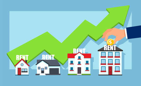 Real estate concept. Vector of successful growing business property rental