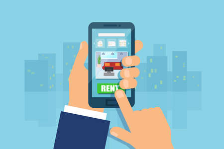Apartment house rent using modern mobile technology. Vector of a man hand holding smartphone, touching screen making an apartment choice using smartphone app.