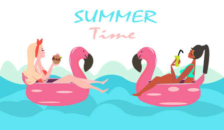 Vacation and relaxion concept. Vector of two women swimming with pink flamingo pool float and sunbathing.