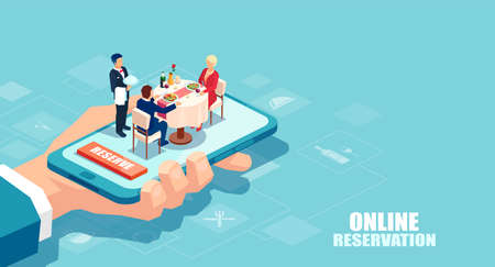 Restaurant online booking concept. Vector of a hand holding a smartphone with couple dining and waiter serving a table.