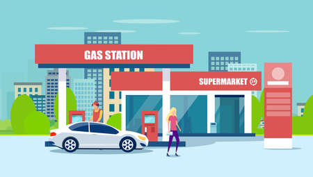 Vector of gas station, supermarket and fueling car Ilustração
