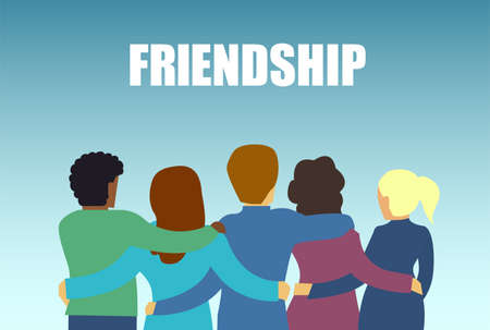 Happy friendship  concept. Vector of a diverse friend group of people hugging together Ilustração
