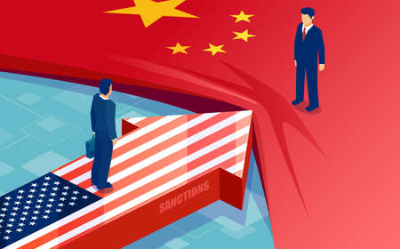 China and United States trade war conflict concept. Vector of two opposing flags, businessmen, trading partners as symbol of economic dispute. Ilustração