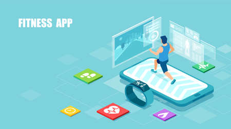 Vector of a fit man running on a smartphone treadmill, exercising. Sport gadgets and mobile apps for  workout concept.