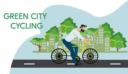 Vector of a hipster man riding a bicycle in the green city