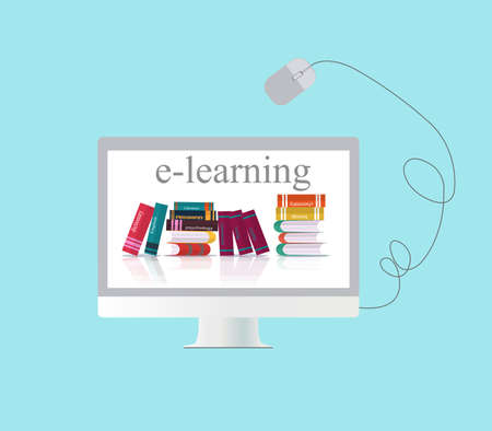 Vector concept of e-learning, distance online education over blue background