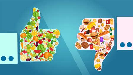 Ernährungswahl und Empfehlungskonzept. Vektor von Gemüse, Obst und ungesundem Fast-Food-Vergleich mit Daumen hoch und runter Geste