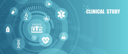 Vector of healthcare laboratory clinical study icons, scientific discovery banner Illustration