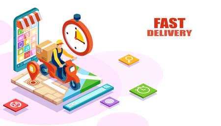 Isometric vector of fast and free delivery by man riding a scooter of an order made online. E-commerce concept Ilustração