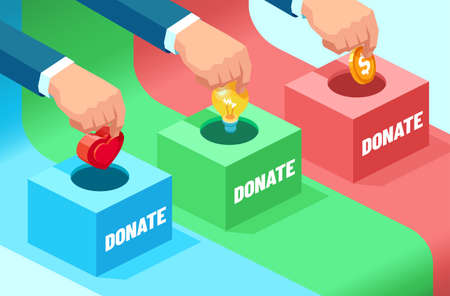 Vector of businessmen hands contributing money, ideas, moral support: coin, light bulb and heart into the fundraising box. Concept of donation for social needs