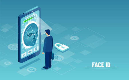 Face recognition ID system concept. Vector of a businessman using smartphone camera scanner for  personal identify verification Ilustração