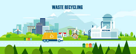 Vector concept pure nature, waste recycling management    Stock Illustratie