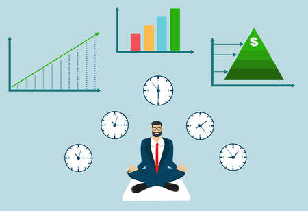 Vector of a meditating businessman with financial growing graphs on the background Ilustração