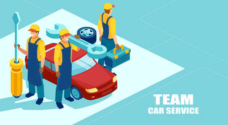 Auto repair shop concept. Isometric vector of a mechanic team, group of technicians with a screwdriver and tools ready to fix a car offer a professional service Stock Illustratie