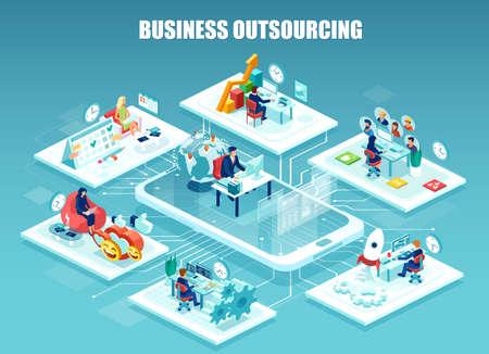 Globales Outsourcing, verteiltes Team, freiberufliches job.concept. Vektor des Unternehmensmitarbeiters, der in verschiedenen Büros arbeitet, die von einem Leiter aus der Ferne verwaltet werden