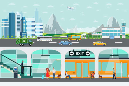 Vector of a cityscape and airport with underground train station platform and people waiting for train departure