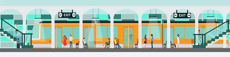 Public transportation concept. Vector of a subway train station platform with people traveling or waiting a train