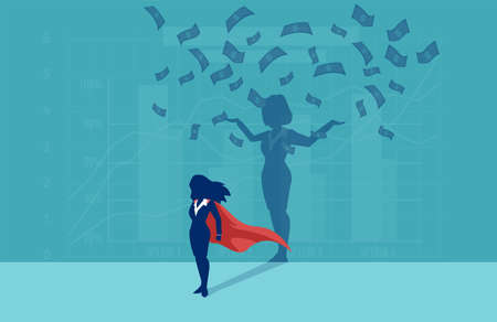 Vector of a super hero businesswoman with her successful shadow under money rain