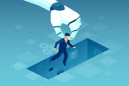 Vettore di un gigantesco braccio robotico che tiene in mano un piccolo imprenditore, l'intelligenza artificiale sostituisce nel lavoro il lavoro umano
