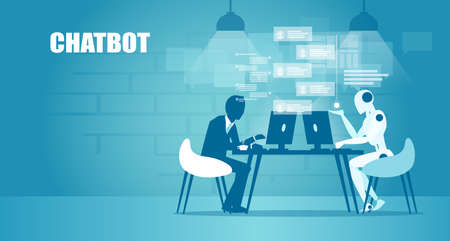 Chatbot in business concept. Vector of a businessman chatting with a robot online