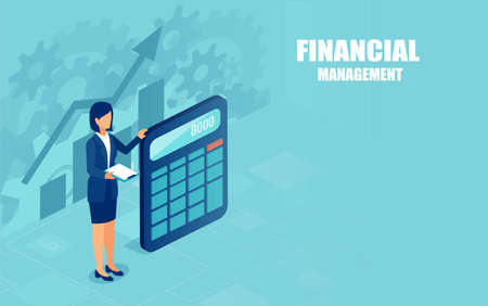 Vector of a business woman with calculator. Financial calculations and management concept  Ilustração