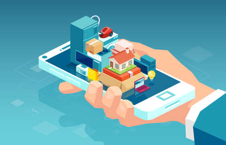 Online electronics shopping. Vector of a hand holding smartphone with home and kitchen appliances