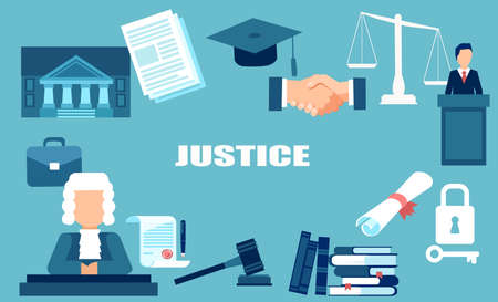Justice and law system concept vector elements