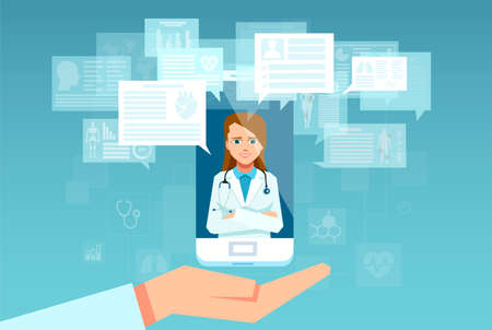 Vector of a female health care professional answering patient questions on the smartphone app. Hospital support online and mobile doctor concept  Stock Illustratie