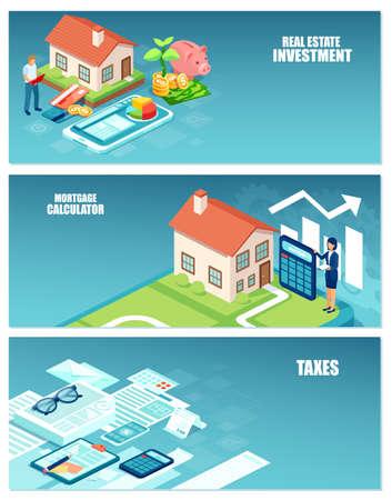 Inversión inmobiliaria, costos del comprador de vivienda e impuestos cálculos concepto de conjunto de banners Ilustración de vector