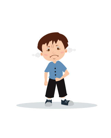 Vector of an angry boy expressing frustration and frowning isolated on white background.
