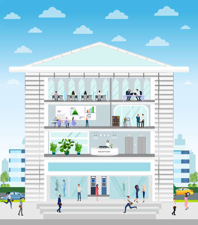 Vector of a company building with reception, office, conference room interiors and employees working inside on a cityscape background
