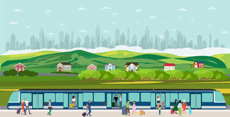 Vector of people boarding the train at the railway station in the suburb of the city megalopolis