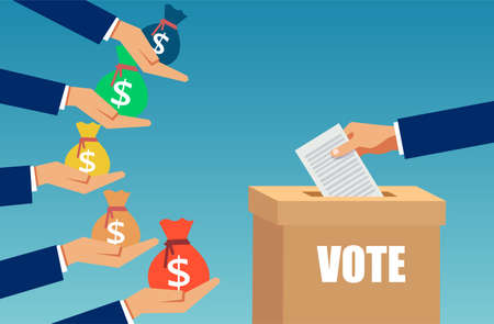 Vector of a lobbyist buying election vote. Bribe and corruption in politics concept