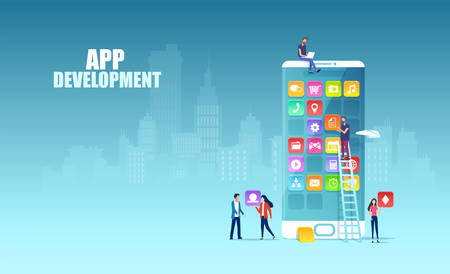 Mobile app development concept. Vector of Independent software professionals developing new apps for mobile devices