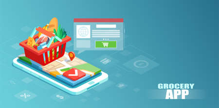 Grocery delivery and shopping via smartphone app concept. Isometric vector of a full basket with vegetables and food on a smartphone display Illustration