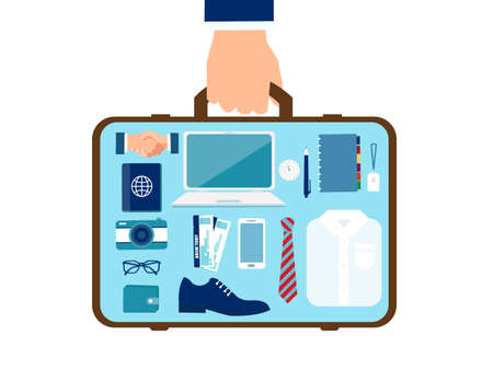 Vector of a business man hand with suitcase with objects inside. Travel and luggage concept