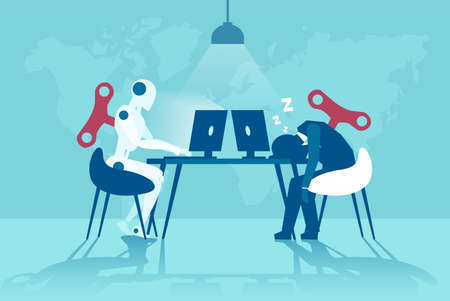 Vector of a working robot vs sleepy businessman working on computer. Artificial intelligence advantages concept Vettoriali
